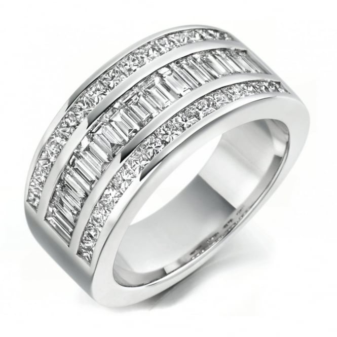 The Raphael Collection Platinum 1.73ct baguette & princess cut diamond eternity ring.