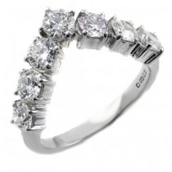 Platinum 1.73ct round brilliant diamond 7 stone wishbone ring.