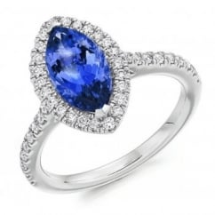 Platinum 1.77ct tanzanite & diamond halo ring.