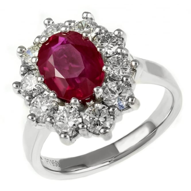 Platinum 1.80ct oval ruby & 1.40ct diamond cluster ring.
