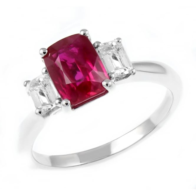 Platinum 1.86ct ruby & 0.49ct diamond 3 stone ring.
