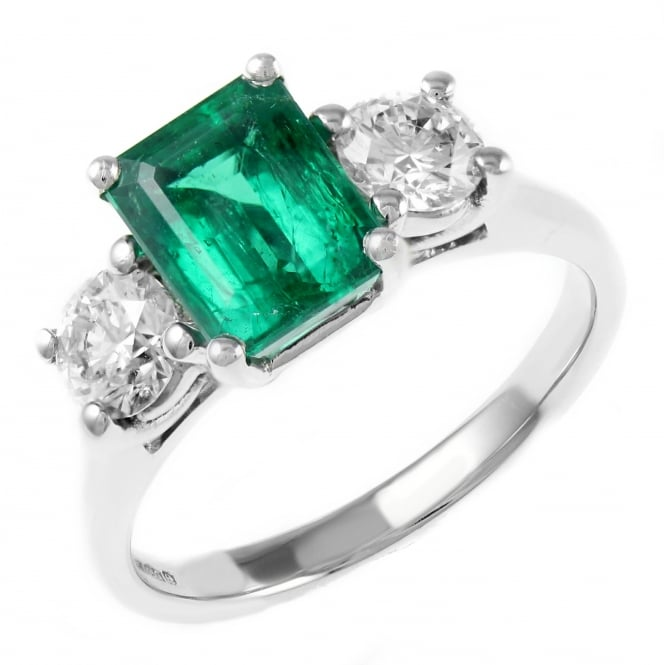 Platinum 1.92ct emerald & 1.00ct diamond 3 stone ring.