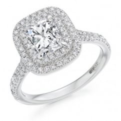 Platinum 1.95ct F VS1 IGI radiant cut diamond double halo ring.