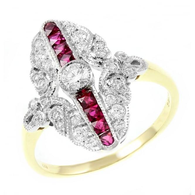 Platinum & 18ct gold 0 57ct ruby 0 32ct diamond Art Deco ring