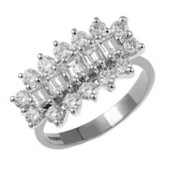 Platinum 2.00ct 5 stone baguette diamond cluster ring.