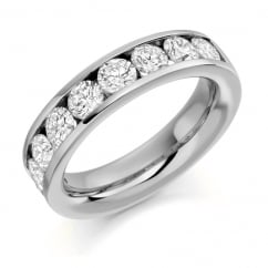 Platinum 2.00ct round brilliant H SI diamond half eternity ring.