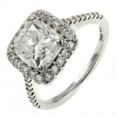 Platinum 2.01ct E VS2 GIA cushion diamond halo ring.