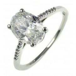 Platinum 2.02ct F SI1 EGL oval dimaond solitaire ring.