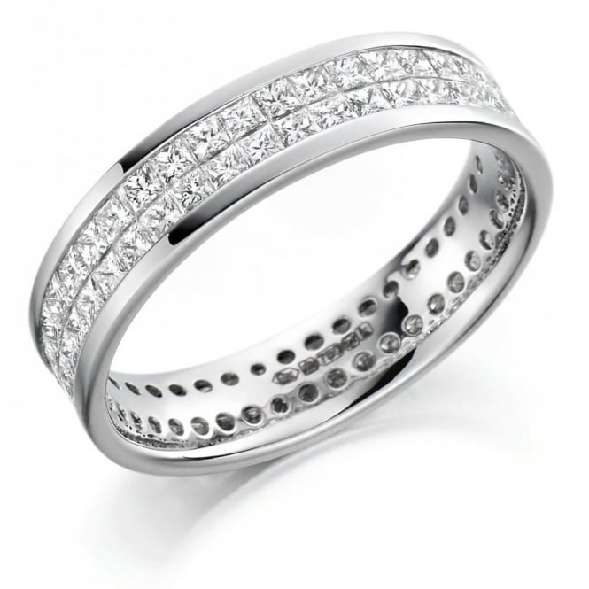 The Raphael Collection Platinum 2.05ct 2 row princess cut diamond full eternity ring.