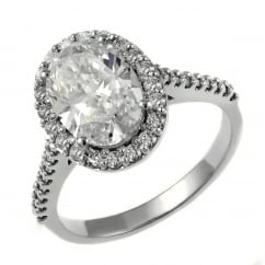 Platinum 2.11ct F VS2 EGL oval cut diamond halo ring.