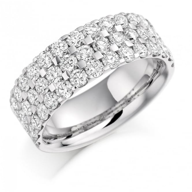 The Raphael Collection Platinum 2.25ct round diamond triple row half eternity ring.