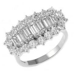 Platinum 2.45ct baguette cut diamond cluster ring.
