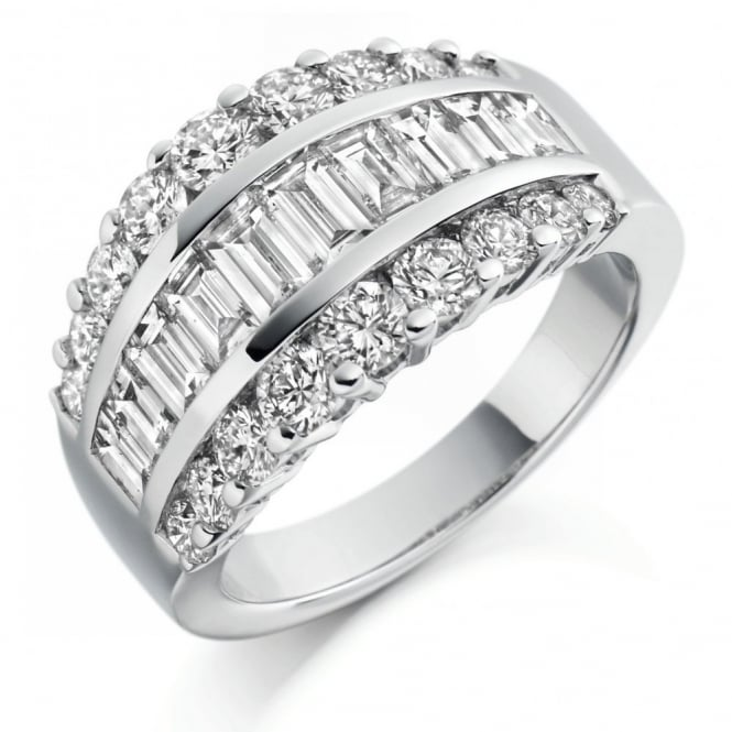 The Raphael Collection Platinum 2.65ct baguette & round diamond broad dress ring.