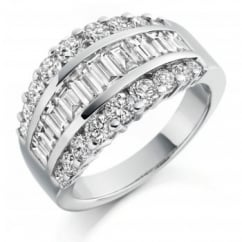 Platinum 2.65ct baguette & round diamond broad dress ring.