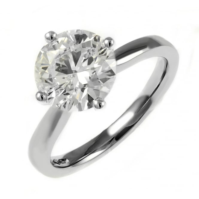 Platinum 2.72ct F SI1 EGL round brilliant cut diamond ring.