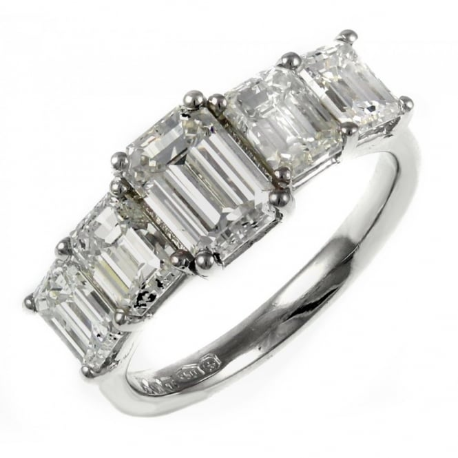 Platinum 2.95ct emerald cut diamond 5 stone ring.