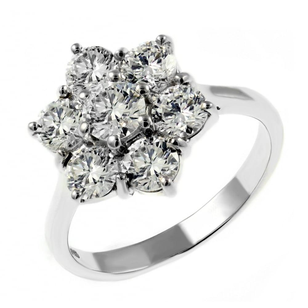 Platinum 298ct diamond flower cluster ring Jewellery from Mr