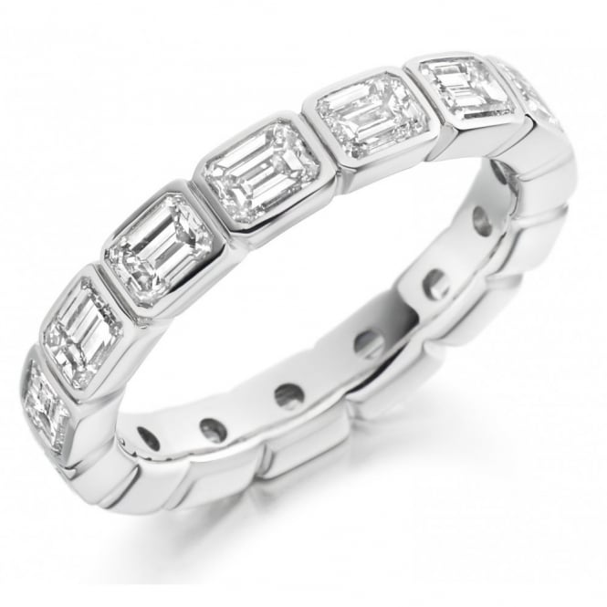 The Raphael Collection Platinum 3.00ct emerald cut diamond full eternity ring.