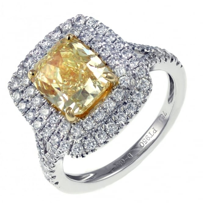 Platinum 3.01ct fancy yellow SI1 GIA cushion diamond ring.