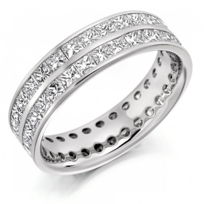 The Raphael Collection Platinum 3.10ct 2 row round brill diamond full eternity ring.