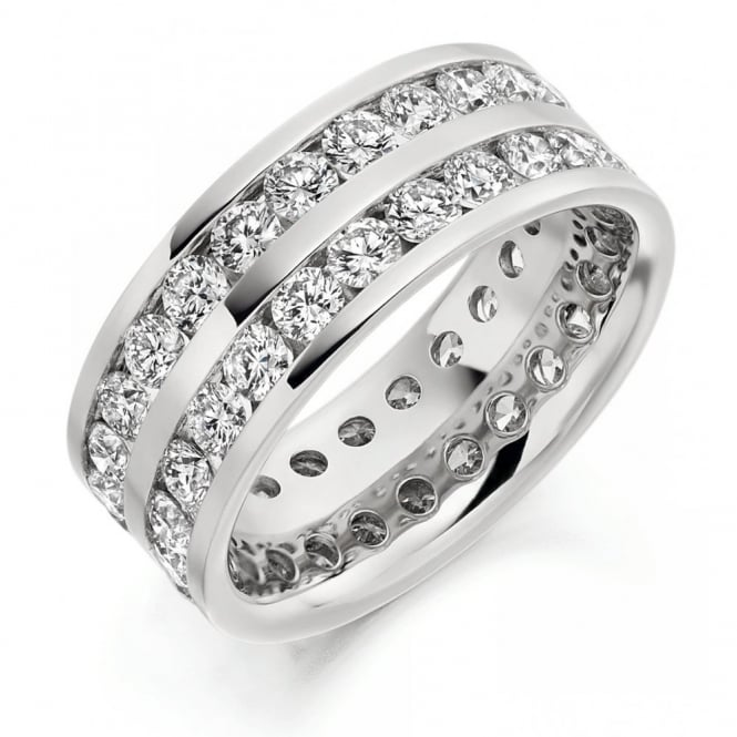 The Raphael Collection Platinum 3.15ct 2 row round brill diamond full eternity ring.