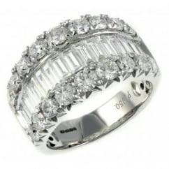 Platinum 3.29ct baguette & round diamond eternity ring.