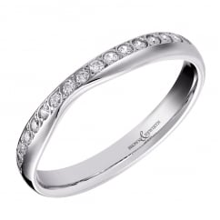 Platinum 4.00mm diamond set shaped 4.00mm wedding band.