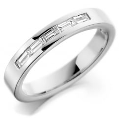 Platinum 4.0mm 0.30ct baguette diamond set wedding band.