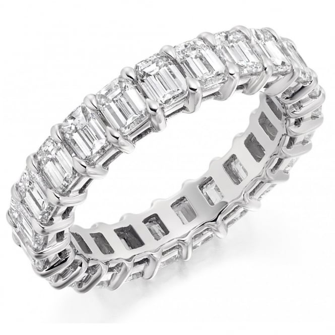 The Raphael Collection Platinum 4.30ct emerald cut diamond full eternity ring.