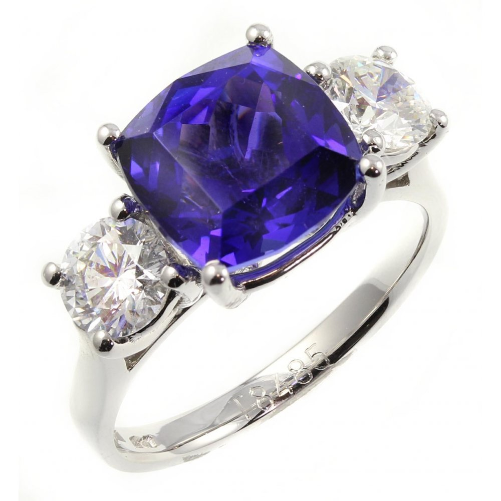 ring white anniversary halo band gold diamond engagement pave cushion tanzanite