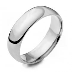 Platinum 5.00mm medium court wedding band.