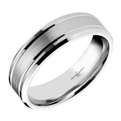 Platinum 6.00mm satin flat wedding band.