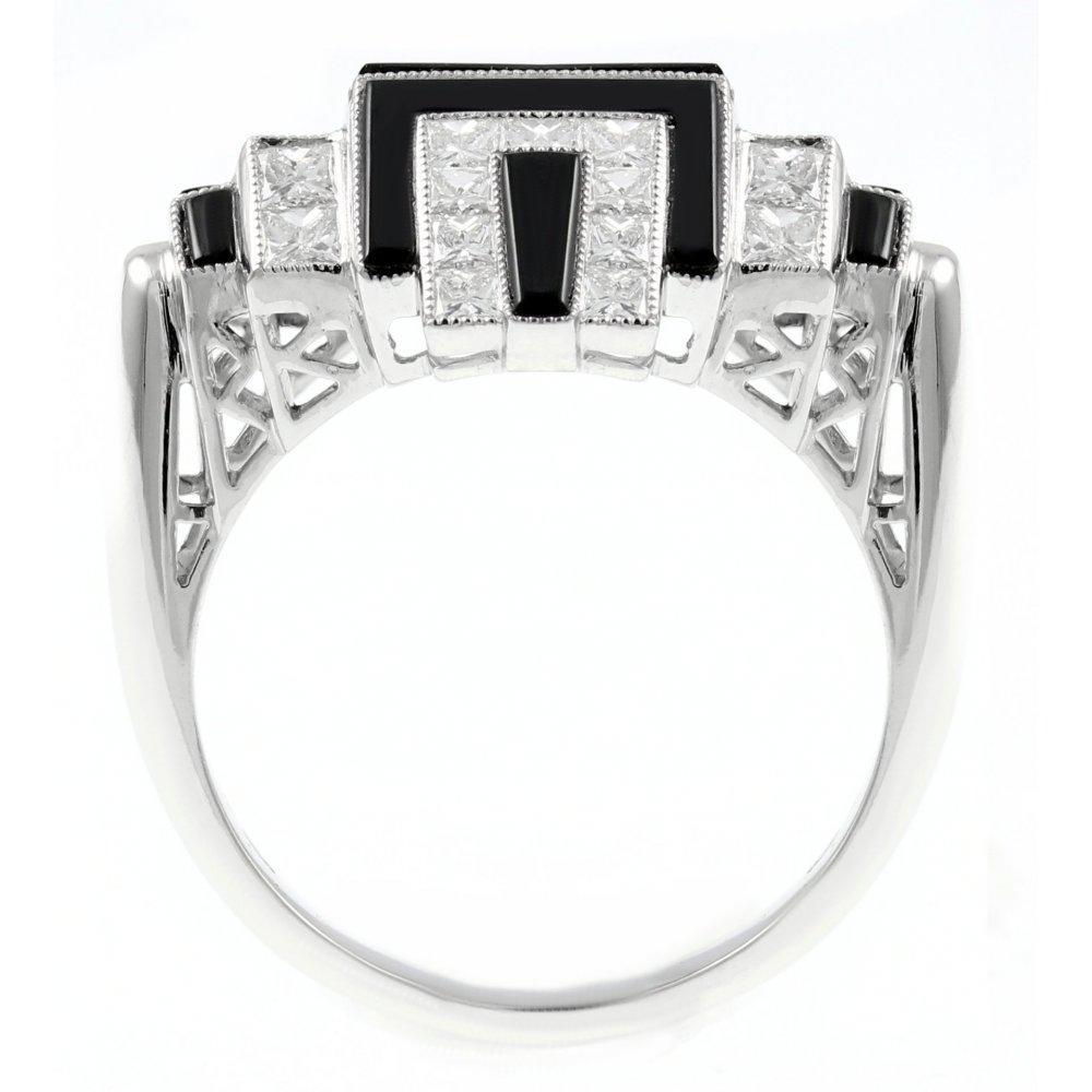Platinum black onyx & 0 92ct diamond Art Deco dress ring