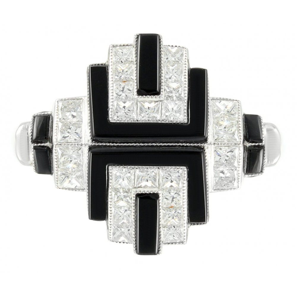 Platinum black onyx & 0 92ct diamond Art Deco dress ring