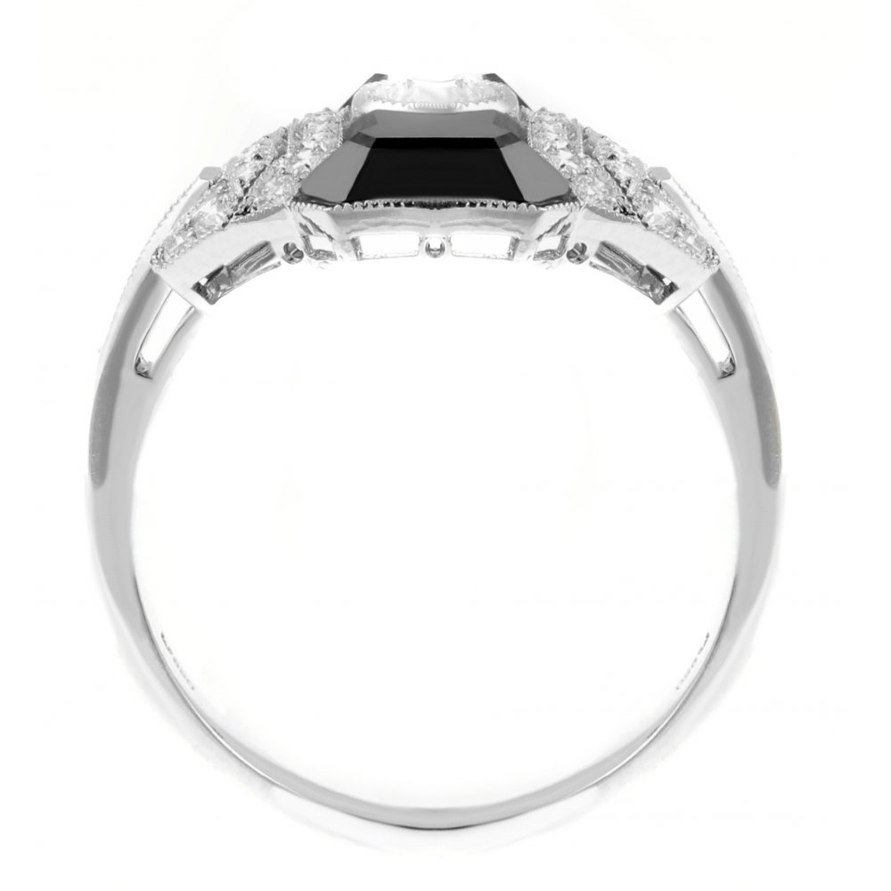 Platinum Black Onyx U0026amp; Diamond Art Deco Style Dress Ring.