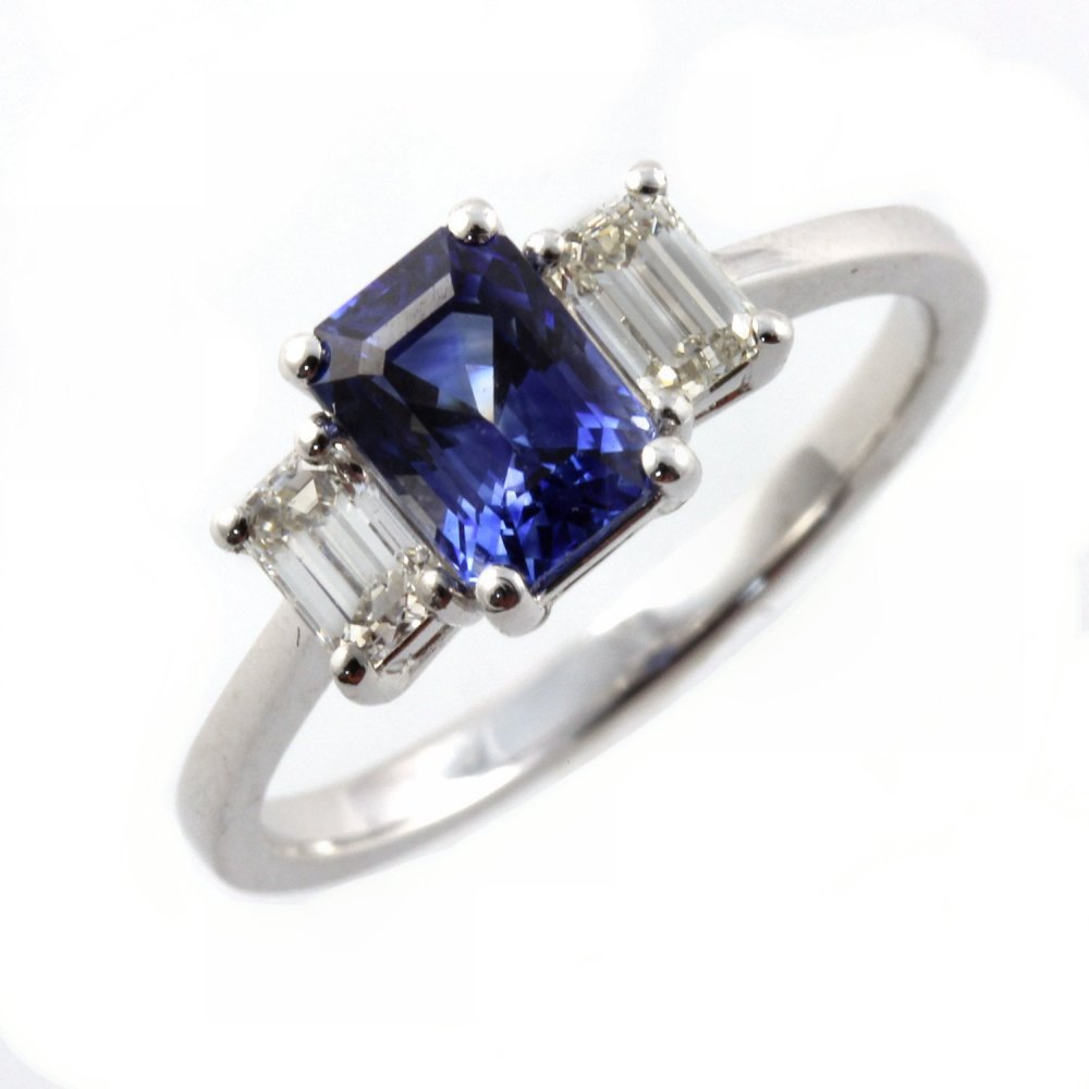 Platinum Emerald Cut Sapphire & Diamond 3 Stone Ring