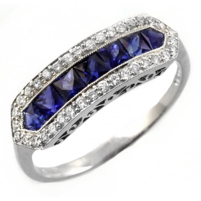 Platinum sapphire & diamond eternity art deco style ring.