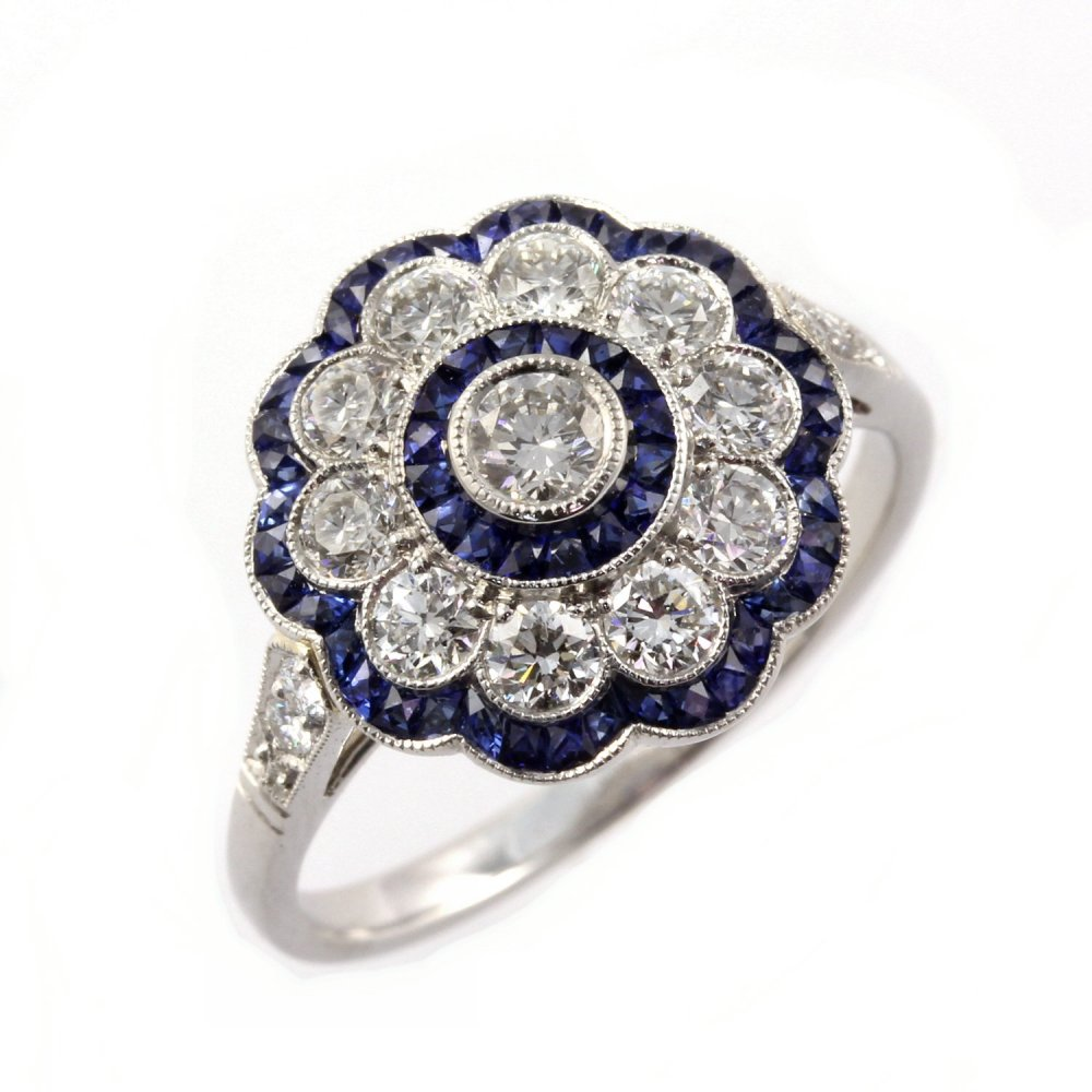 sheldon bloomfield platinum sapphire flower cluster deco style ring jewellery