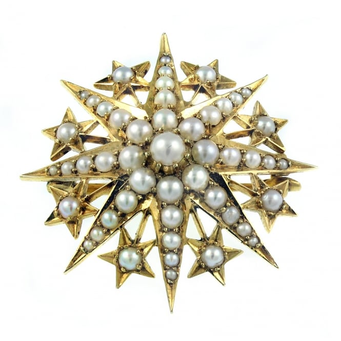 Preowned 15ct yellow gold pearl set star shaped brooch.