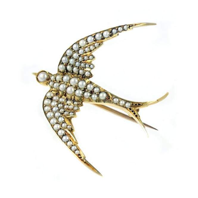 Preowned 15ct yellow gold pearl set swallow brooch.