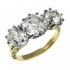 Preowned 18ct gold 5.58ct Victorian old cut diamond ring.