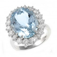 Preowned 18ct white gold 9.85ct aquamarine 1.97ct diamond ring