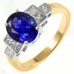 Preowned 18ct yellow gold 1.41ct sapphire & 0.65ct diamond ring