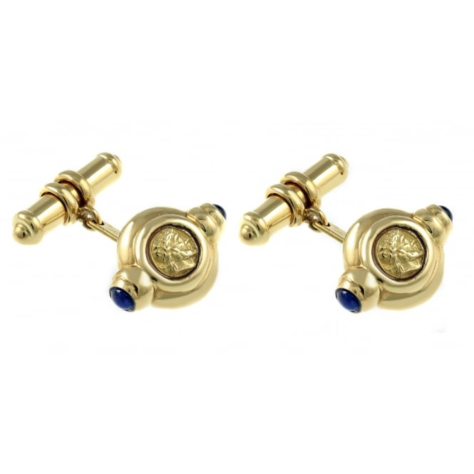 Preowned 18ct yellow gold circular chain cufflinks.
