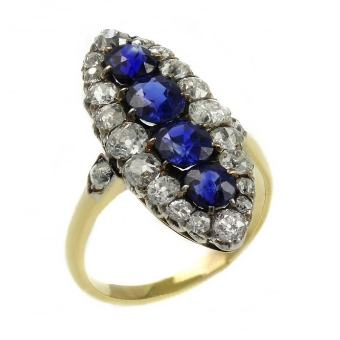 Preowned 18ct yellow gold old cut sapphire diamond cluster ring.