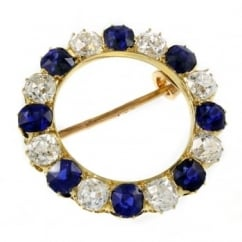Preowned 18ct yellow gold sapphire & diamond circular brooch.