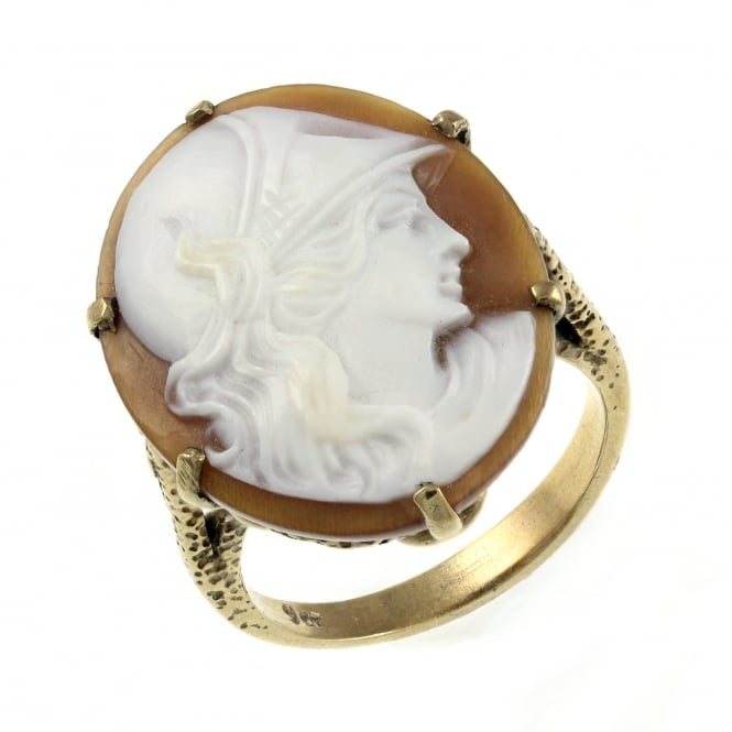 Preowned 9ct yellow gold 24x19mm oval cameo ring.