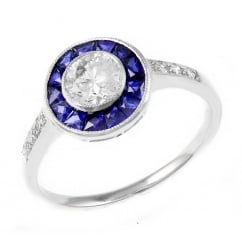 Preowned platinum 0.59ct diamond & sapphire Art Deco style ring