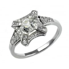 Preowned platinum 0.73ct French old cut diamond dress ring.