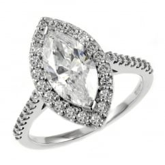 Preowned platinum 1.10ct D VS1 EGL marquise diamond halo ring.
